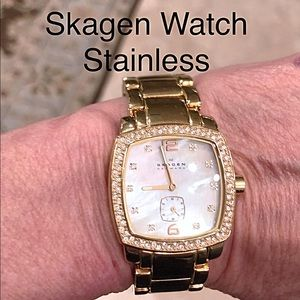 Ladies Skagen Gold Link Crystal Stainless Watch
